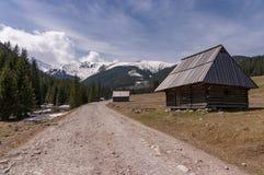 Oude hutten in de Chocholowska-Vallei Westelijke Tatras polen stock foto's