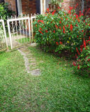 Oude ijzerpoort in tuin Stock Foto