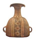 Oude Inca-geïsoleerde aardewerkkruik. Stock Foto