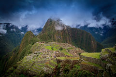 Oude inca verloren stad van Machu Picchu, Peru stock fotografie