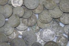 Oude Indische muntstukken Hoogste mening Stock Foto