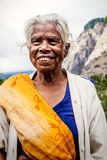 Oude Indische vrouw Bejaarde rimpels Stock Afbeelding