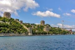 Oude istambulmuren aan de Bosphorus-kant stock foto