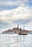 Oude Istrian-stad van Rovinj of Rovigno in Kroatië Stock Afbeeldingen