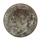 Oude Italiaanse Lire met Vittorio Emanuele III geïsoleerd die Koning over wit wordt geïsoleerd Stock Afbeeldingen