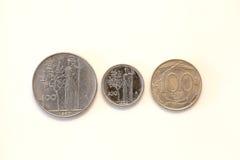 Oude Italiaanse muntstukken Stock Foto's