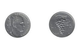 Oude Italiaanse vijf Lires Royalty-vrije Stock Afbeeldingen