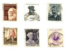 Oude Italiaanse zegels (beroemde mensen) Royalty-vrije Stock Fotografie