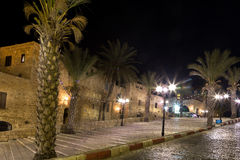 Oude Jaffa bij nacht. Israël royalty-vrije stock afbeelding
