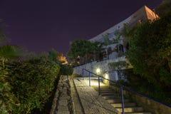 Oude Jaffa bij nacht. Israël stock foto