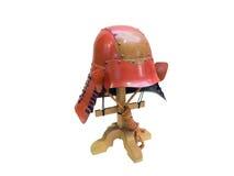 Oude Japanse samoeraien, Japanse militairen traditionele helm w Stock Afbeelding