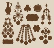 Oude juwelen en schattensilhouetten Stock Afbeeldingen
