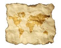 Oude kaart, die op een wit wordt geïsoleerdu Stock Foto's