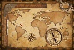Oude kaart, heerser, kabel en oud kompas Stock Afbeeldingen