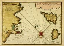 Oude kaart Trapan, Favignana en Levanzo Stock Foto's