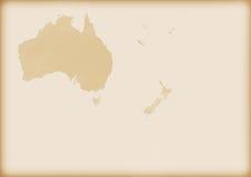 Oude kaart van Australië en Nieuw Zeeland Royalty-vrije Stock Afbeelding