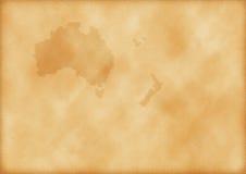 Oude kaart van Australië en Nieuw Zeeland Stock Afbeeldingen