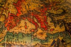 Oude kaart van de Middellandse Zee Stock Foto