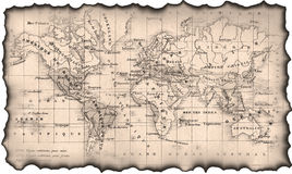 Oude kaart van de wereld Royalty-vrije Stock Afbeelding