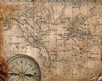 Oude kaart van de wereld. Stock Foto