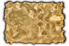 Oude kaart van de wereld Stock Fotografie