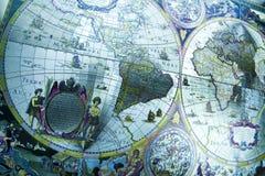 Oude kaart van de wereld Stock Afbeeldingen
