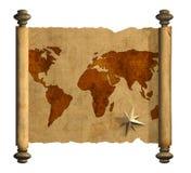 Oude kaart van de wereld royalty-vrije illustratie