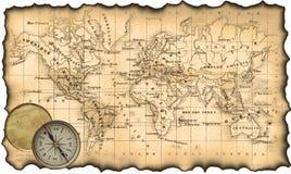 Oude kaart van de wereld. Kompas Stock Foto