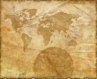 Oude kaart van de wereld. Kompas Royalty-vrije Stock Afbeelding