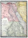 Oude kaart van Egypte. Stock Foto's