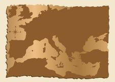 Oude kaart van Europa stock illustratie