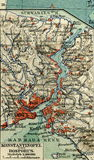 Oude kaart van geografische Atlas, 1890 Het Turkse Ottomaneimperium Turkije Istanboel, Bosphorus Royalty-vrije Stock Fotografie
