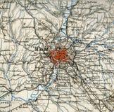 Oude kaart van geografische Atlas 1890 met een fragment van de Apennijnen, Italiaans Schiereiland Mooie oude vensters in Rome (It Stock Fotografie