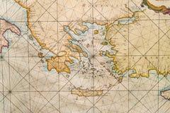 Oude kaart van Griekenland, westelijk Turkije, Albany, Kreta Stock Afbeeldingen
