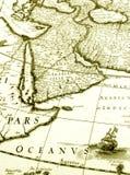 Oude kaart van het gebied van Arabië Stock Foto's