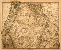 Oude kaart van het Vreedzame Noordwesten van Amerika. Stock Foto