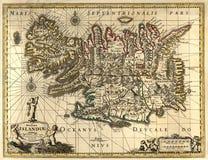 Oude kaart van IJsland Stock Afbeelding