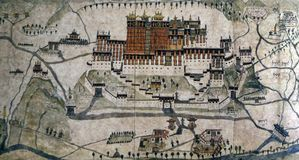 Oude kaart 1859 van Lhasa, Potala-Paleis Stock Foto