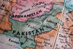 Oude kaart van Pakistan en Afganistan royalty-vrije stock afbeeldingen