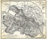 Oude kaart van Parijs Stock Afbeelding