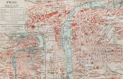 Oude kaart van Praag Stock Foto