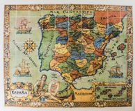 Oude kaart van Spanje en Portugal stock foto's