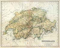 Oude kaart van Zwitserland. Stock Afbeelding