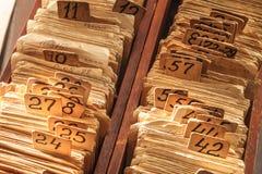 Oude kaartsysteemcatalogus Stock Fotografie