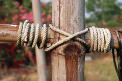 Oude kabel op bamboepool, de Uitstekende pool van het straatlantaarnsbamboe royalty-vrije stock foto's