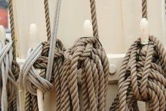 Oude kabels op sailingship Stock Foto