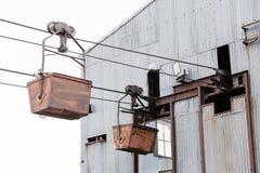 Oude kabelwagen voor steenkoolvervoer in Longyearbyen, Spitsberg Royalty-vrije Stock Afbeeldingen
