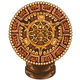 Oude kalender van Maya op witte achtergrond stock illustratie