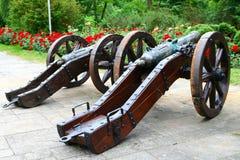 Oude kanonnen in de tuin Royalty-vrije Stock Afbeelding