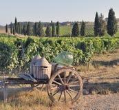 Oude kar en wijnflessen stock afbeeldingen